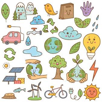 Set van ecologie doodle in kawaiistijl