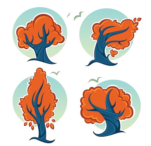 Set van ecologie en natuur herfst boom tekens en pictogrammen