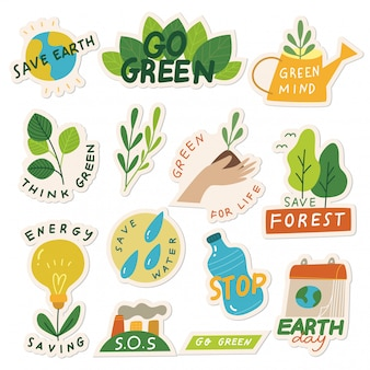 Set van ecologie sticker met slogan