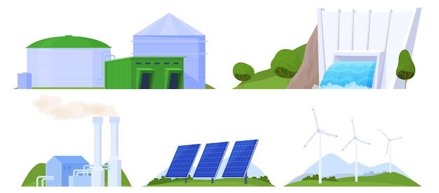 Set van ecologische elektriciteitscentrales
