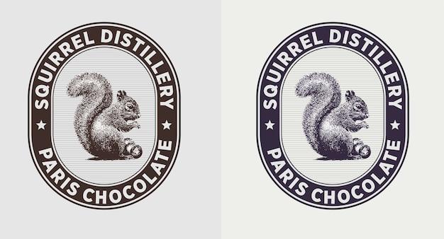 Set van eekhoorn vintage logo