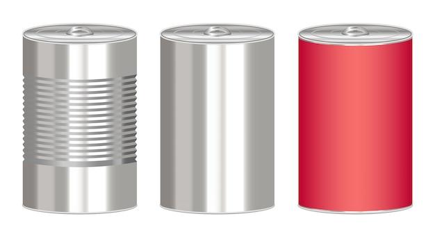 Set van een blik van een stalen cilinder ingeblikt voedsel