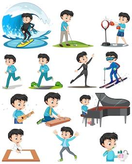 Set van een jongen die verschillende activiteiten doet
