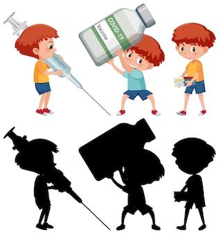 Set van een jongen met verschillende objecten vaccin concept