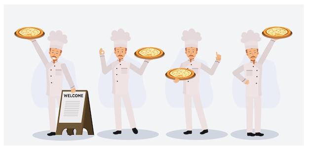 Set van een man in chef-kok uniform en chef-kok hoed met pizza in de buurt van houten welkomstbord