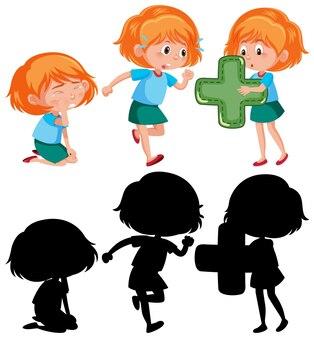Set van een meisje dat verschillende activiteiten doet