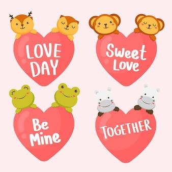 Set van een paar dieren met hartjes en romantische letters. valentijnsdag
