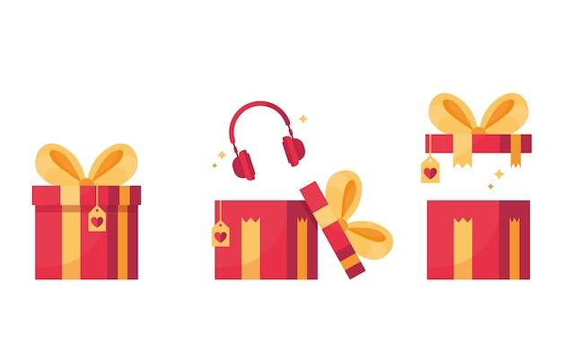 Set van een rood geschenk met een strik, binnenkant met koptelefoon in een gesloten, open en onverpakte doos. rood en geel