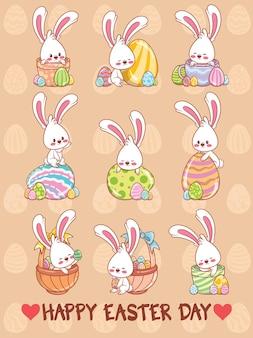 Set van een schattig konijntje met paaseieren cartoon