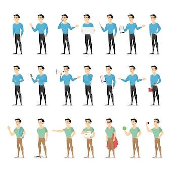 Set van een staande man-personage in vrijetijdskleding met verschillende gezichtsemoties en gebaren. illustratie in cartoon-stijl