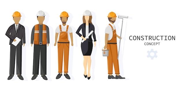 Set van een team van werknemers in de bouw