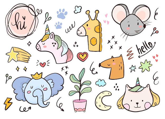 Set van eenhoorn en dier doodle tekening cartoon voor kinderen kleuren en afdrukken