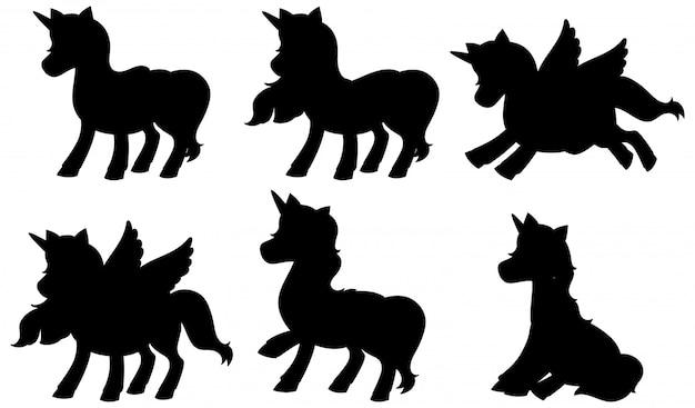 Set van eenhoorn silhouet