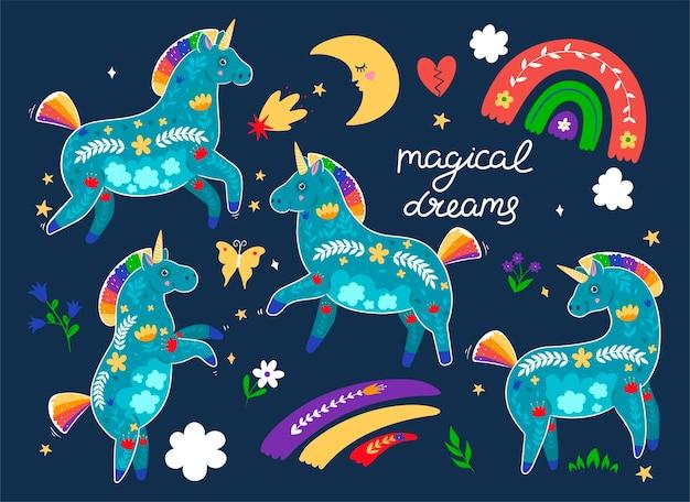 Set van eenhoorns en inscriptie magische dromen. vectorafbeeldingen.