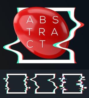 Set van eenvoudig geometrisch vierkant met glitch-effect voor uw abstracte moderne compositie.