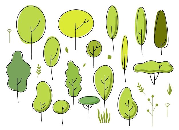 Set van eenvoudige bomen, conceptueel minimaal ontwerp, geometrische vormen. handgetekende bomen en bloemenelementen. vector illustratie