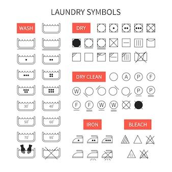 Set van eenvoudige eenvoudige wasinstructiesymbolen