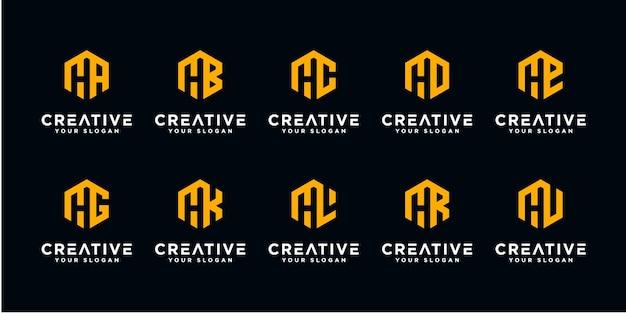 Set van eenvoudige en solide lettertekens voor letter h en enz. grafisch kwaliteitsmerk voor uw bedrijf.