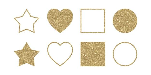 Set van eenvoudige geometrische glittervormen. trendy elementen