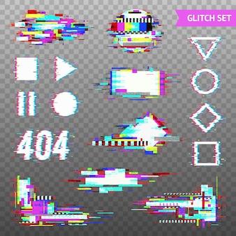 Set van eenvoudige geometrische vormen en digitale elementen in vervormde glitch-stijl