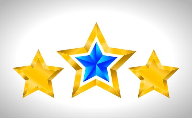 Set van eenvoudige gouden sterren