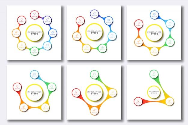 Set van eenvoudige infographic sjablonen met marketing pictogrammen op wit