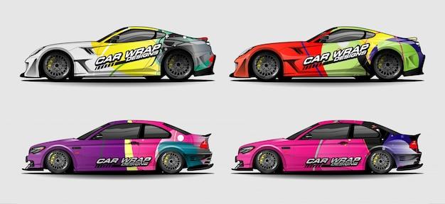 Set van eenvoudige kleurrijke auto wrap ontwerpen