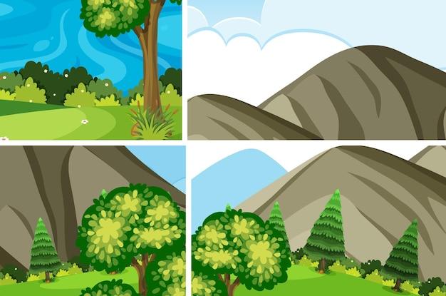 Set van eenvoudige natuur buiten achtergrond