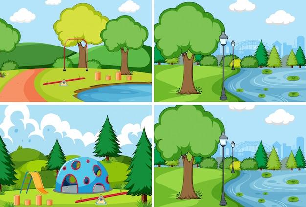 Set van eenvoudige park