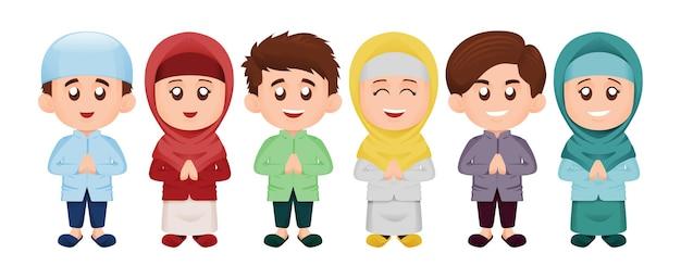 Set van eenvoudige schattige moslim of moslim kinderen jongen en meisje glimlach in kleurrijk thema concept