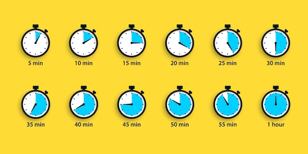 Set van eenvoudige timers. countdown timer vector iconen set. stopwatch pictogrammen instellen in vlakke stijl, digitale timer. klok en horloge, aftelsymbool. timer met volledige rotatiepijl. sportklok