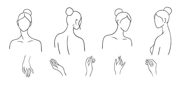 Set van eenvoudige vrouwelijke hoofden en handen getekend door lijn. minimalistische contourportretten van vrouwen