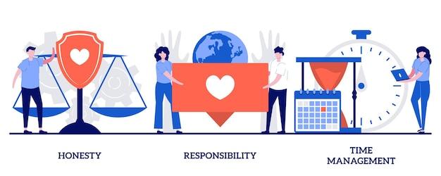 Set van eerlijkheid, verantwoordelijkheid, tijdmanagement, persoonlijke en professionele vaardigheden
