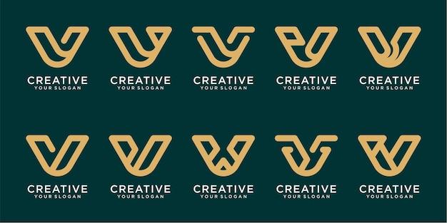 Set van eerste abstracte monogram v-logo-sjablonen met lijnstijl premium vector