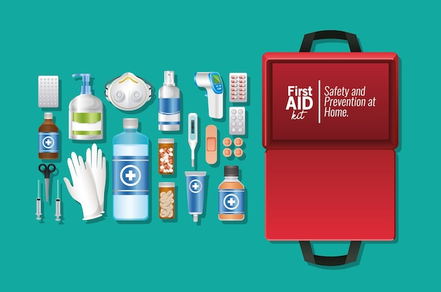 Set van eerste aid-pictogram op groene illustratie