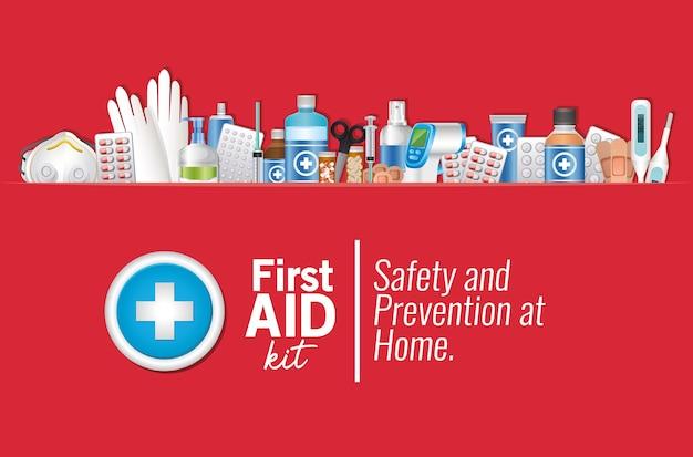 Set van eerste aid-pictogram op rode afbeelding