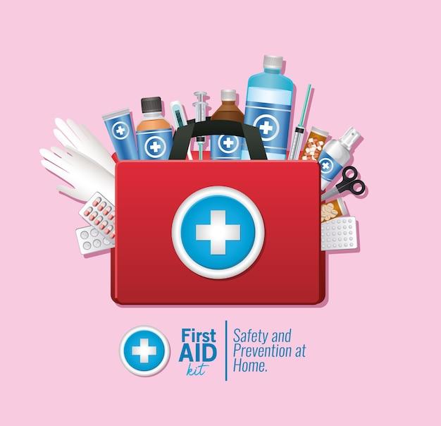 Set van eerste aid-pictogram op roze illustratie