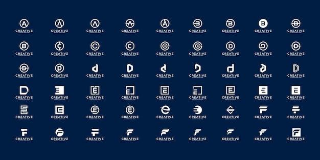 Set van eerste letter a, b, c, d, e en f logo ontwerpsjabloon.