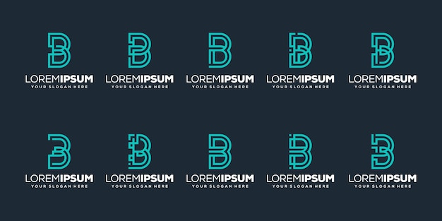 Set van eerste letter b logo sjabloon
