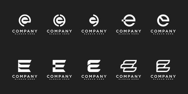 Set van eerste letter e logo ontwerpsjabloon. pictogrammen voor zaken van luxe, elegant, eenvoudig