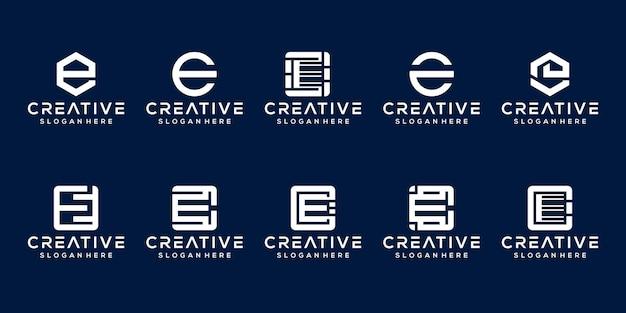 Set van eerste letter e logo sjabloon