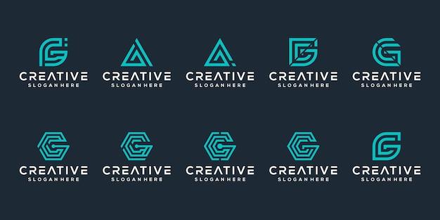 Set van eerste letter g logo sjabloon