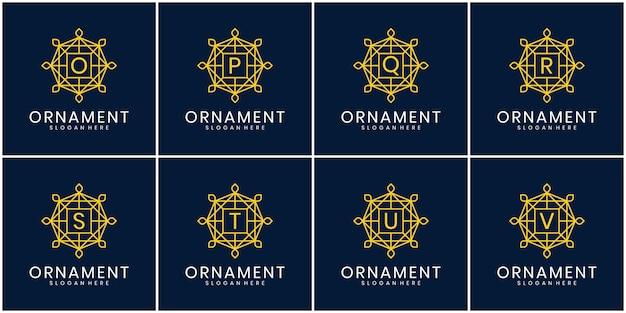 Set van eerste letter luxe ornament monogram logo. decoratieve kroonring set