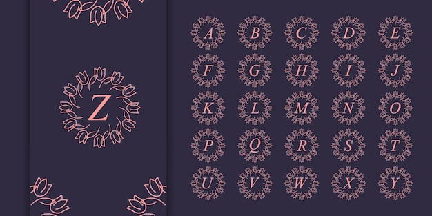 Set van eerste letter luxe ornament monogram logo. luxe gouden eerste alfabet logo sjabloon
