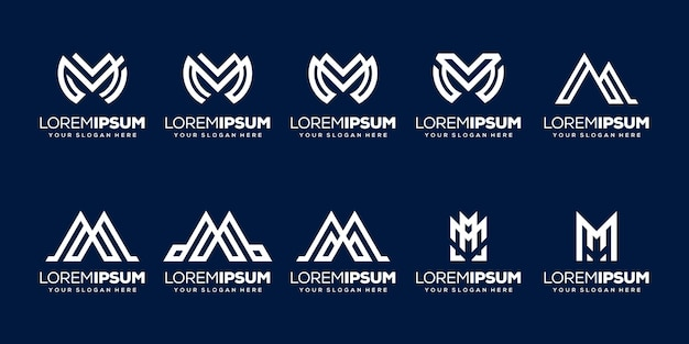 Set van eerste letter m-logo sjabloon
