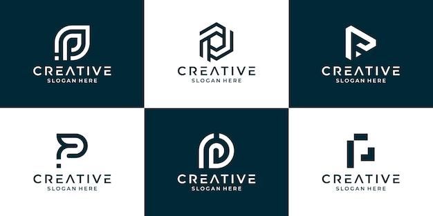 Set van eerste letter p logo ontwerpsjabloon, geometrische monogram logo met abstracte vorm