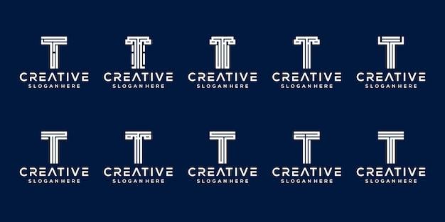 Set van eerste letter t-logo sjabloon