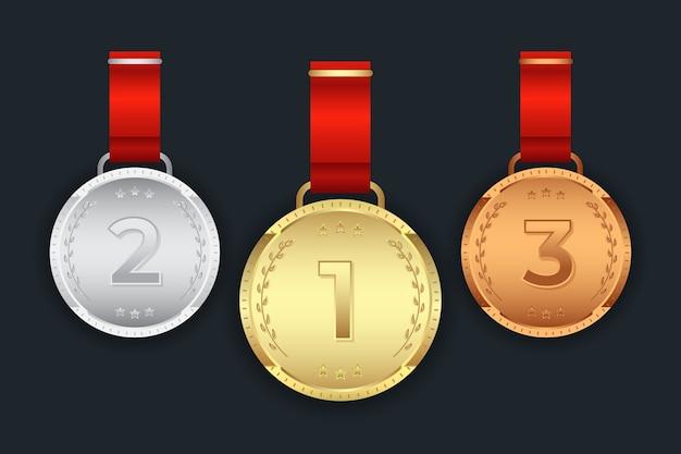 Set van eerste tweede derde gouden zilveren bronzen medaille