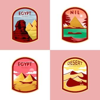 Set van egypte badge ontwerp