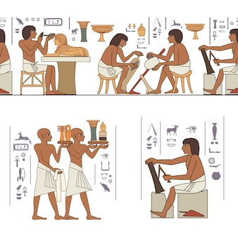 Set van egyptisch oud symbool egyptisch element culturedesign element